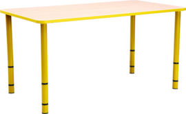 Rechthoekige Quint-tafel 115 x 65 met gele rand en in  40-58cm hoogte verstelbaar