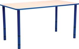 Rechthoekige Quint-tafel 115 x 65 met blauwe rand en in  40-58cm hoogte verstelbaar