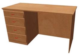 Bureau hout | 120 x 60 cm  |4 laden links | dichte achter wand