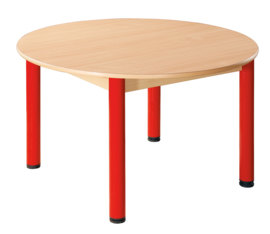 Tafel beuken/metaal 100 cm. rond 40-76 cm.