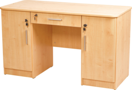 Vigo-bureau met afgeronde randen, met 2 kasten en lade, beuken