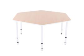Zeshoekige Quint-tafel 128 cm met witte rand en in  40-58cm hoogte verstelbaar