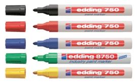 5 x lakmarkers Edding 750 rond 2-4 mm. assorti