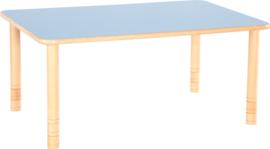 Rechthoekige Flexi tafel 120x80cm blauw in hoogte verstelbaar