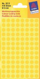 Etiket Avery Zweckform 3013 rond 8mm geel 416stuks