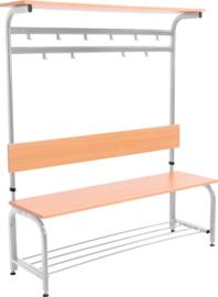 Garderobe met verstelbare bank en haken - aluminium