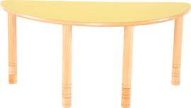 Halfronde Flexi tafel 120x60cm geel in hoogte verstelbaar