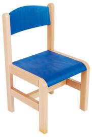 Hout stoel, blauw maat 1-3