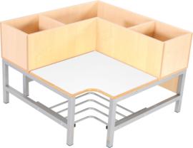 Flexi garderobe hoekbank 3, zithoogte 35 cm., wit
