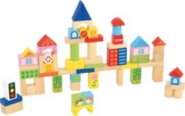 Houten blokken - Stad, 75 stuks