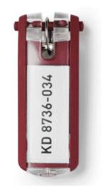 6 stuks Sleutellabel Durable 1957 met ring rood