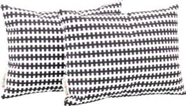 Rechthoekige kussens, zwarte en witte lijnen, 2 stuks