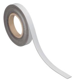 Magneetband beschrijf- en wisbaar, 10m. x 20 mm. x 1 mm. wit