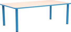 Rechthoekige Quint-tafel 115 x 65 cm met licht blauwe rand 40-58cm