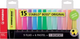 Markeerstift STABILO Boss Original 7015-01-5 deskset à 15 kleuren
