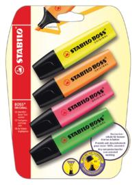 Markeerstift STABILO Boss Original 70/4 blister à 4 kleuren