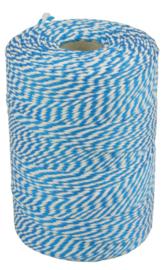 Touw katoen 45meter 50gr blauw/wit
