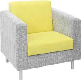 Relax fauteuil grijs/groen - ronde poten