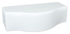 Witte poef in golfvorm zithoogte 34 cm