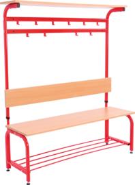 Garderobe met verstelbare bank en haken - rood