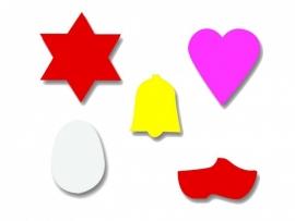 Plakfiguren ster, hartje, klokje, eitje en klompje