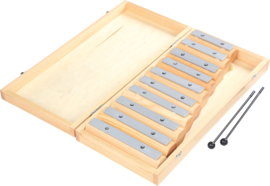 Metalen xylofoon in doos met stokken