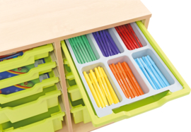 Verdeler voor ondiepe containers met 6 compartimenten