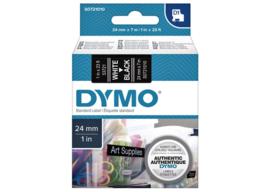 Labeltape Dymo 53721 D1 721010 24mmx7m wit op zwart