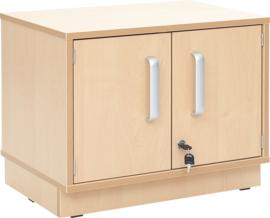 Flexi-kasten S met legbord, smal  - met plint, berken deuren met slot