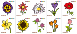 Garderobe stickers - bloemen, 10 stuks