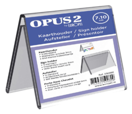 Tafelnaambord OPUS 2 V-standaard 70mmx100mm acryl