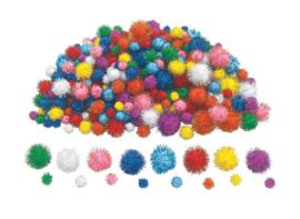 Pompons  glitter  assorti  1.5-3 cm  300 stuks