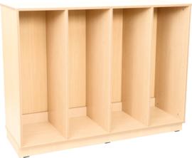 Flexi XL-kast voor plastic bakjes - 3 tussenschotten - met plint