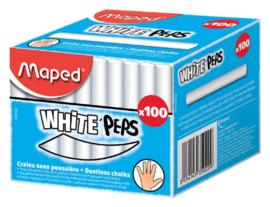 100x Schoolbordkrijt Maped Color'Peps wit stofvrij