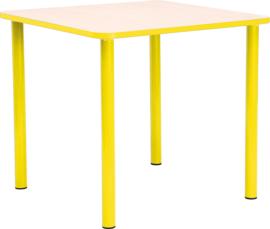 Vierkante Quint-tafel 65 x 65 cm met gele rand 40-58cm