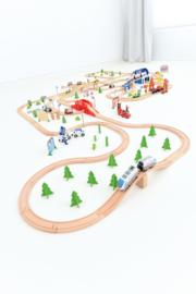 Houten spoorbaan compleet- 50-delig
