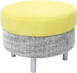 Ronde relax poef grijs/groen - ronde poten