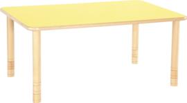 Rechthoekige Flexi tafel 120x80cm geel 58-76cm hoogte verstelbaar