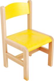 Houten stoel met viltdoppen, geel maat 1-3