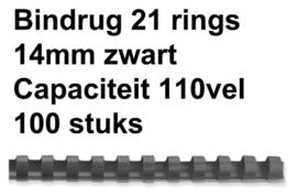 Bindrug Fellowes 14mm 21rings A4 zwart 100stuks