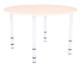 Ronde Quint-tafel 90 cm met witte rand en in  40-58cm hoogte verstelbaar