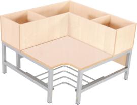 Flexi garderobe hoekbank 3, zithoogte 35 cm., esdoorn