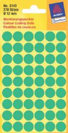 Etiket Avery Zweckform 3143 rond 12mm groen 270stuks