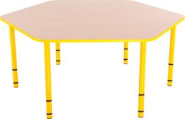 Zeshoekige Quint-tafel 128 cm met gele rand en in  40-58cm hoogte verstelbaar