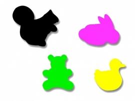 Plakfiguren eekhoorn, beer, konijn en eend