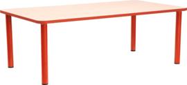 Rechthoekige Quint-tafel 115 x 65 cm met rode rand 40-58cm