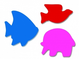 Plakfiguren jumbo vis, vogel en olifant