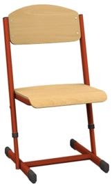 Len stoel met instelbare hoogte - maat 1-6 rood
