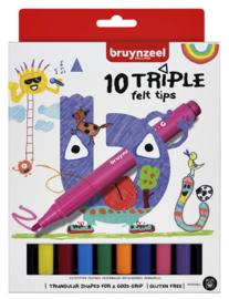 Viltstift Bruynzeel Kids  driekantig - 10 stuks assorti
