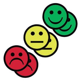 6x Magneet smiley 75mm 2x geel 2x groen 2x rood